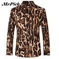 Leopardo hombres camisas de manga larga moda 2016 marca impreso Turn down Collar Shirts Chemise Homme Z1790-Euro