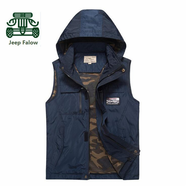 AFS JEEP Falow 2017 Quick Dry Sleeveless Jacket,Summer Man's Solid Cardigan Turn Down Collar Waterproof Vest,Plus size M to 5XL