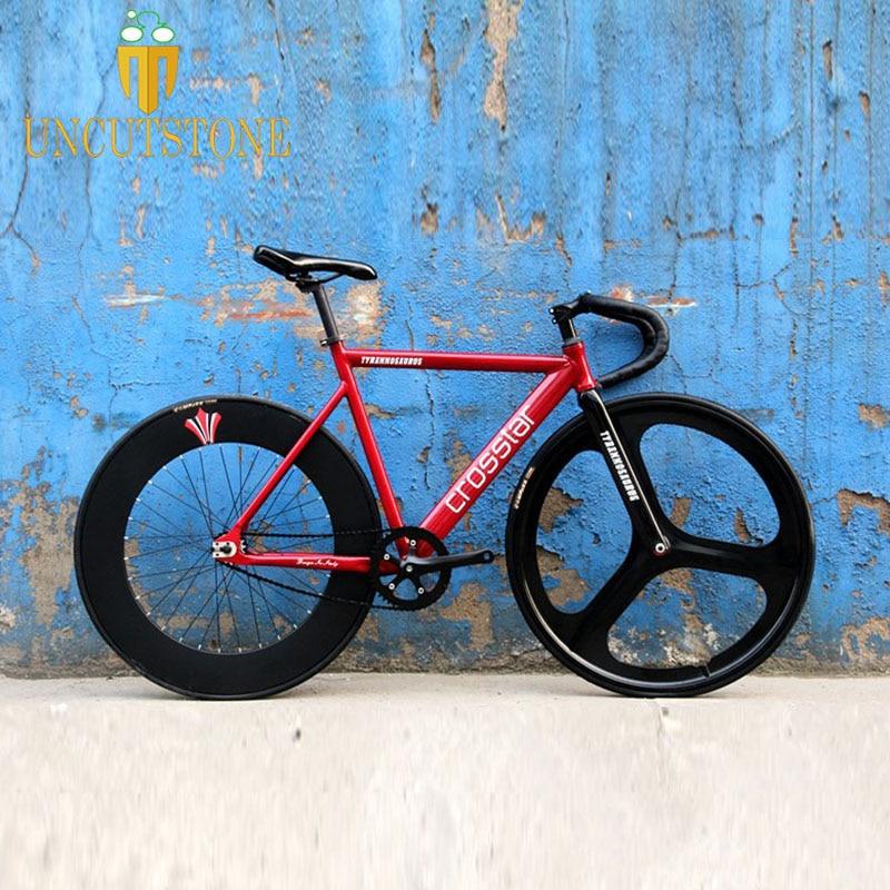 Fixed Gear Bike  Frame 53cm 55cm 58cm  DIY 700C Aluminum Alloy Track Bike Bicycle With 3 Spoke Wheel Rim Carbon Fork