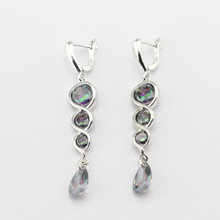 Silver Color Drop Earrings For Women Multicolor Rainbow Created Topaz Long Earring Jewelry  Free Gift Box