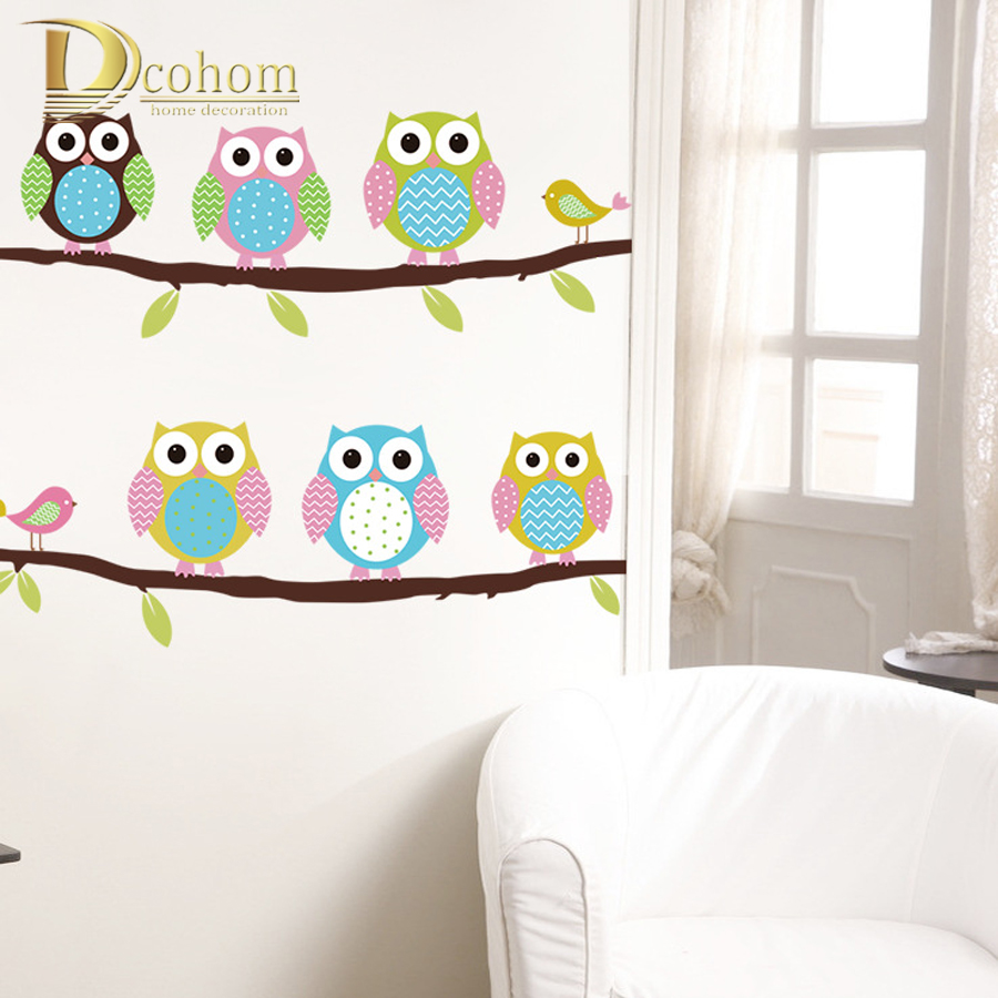 Vinyl Tree Bird Wall Decals Owls Wall Stickers For Kids Rooms Decoration Sticker Mural Anime Poster adesivo de parede