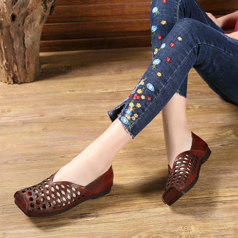 Baotou Femmes Confortable Carrée Peu Fond La Été Sandales De Chaussures Profonde Peau Main Faits Tête À Plat 2019 Vache Creux Plates xqzRZax