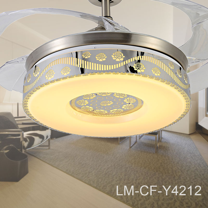 Mirror Decor Retractable Ceiling Fan