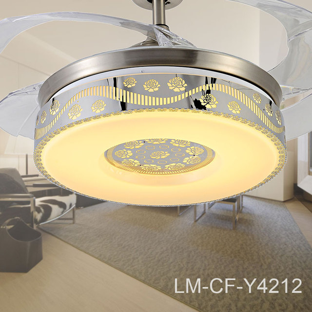 Mirror Decor Retractable Ceiling Fan Y4212 Energy Saving Led Light