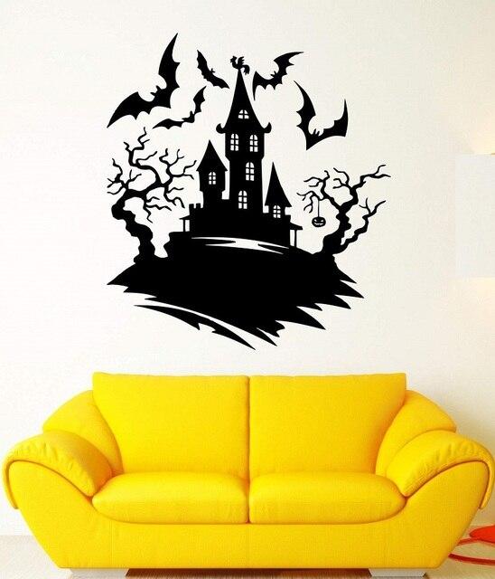 Dark Night Bat Castle Halloween Tree Fear Vinyl Wall Decal Halloween Holiday Childrens Room Cafe Bar Art Wall Decoration Mural
