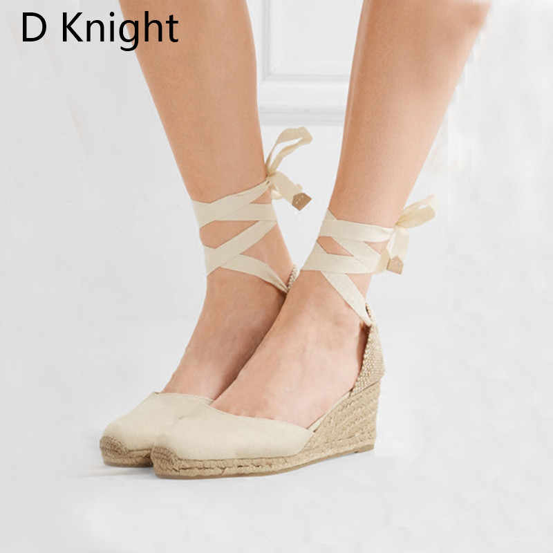 41739e6dd ... Hot Ankle Strap Women Sandals Closed Toe Wedge Espadrilles Women Lace Up  Platform Rope Sandals High ...