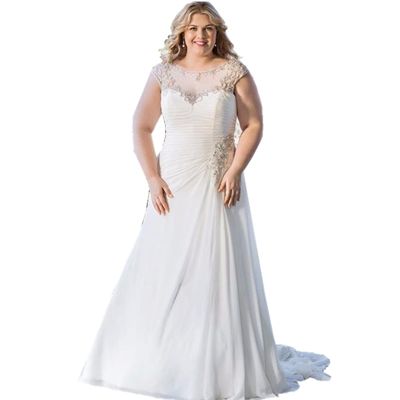 Country Western A Line Cheap Chiffon Bridal Gowns Beaded