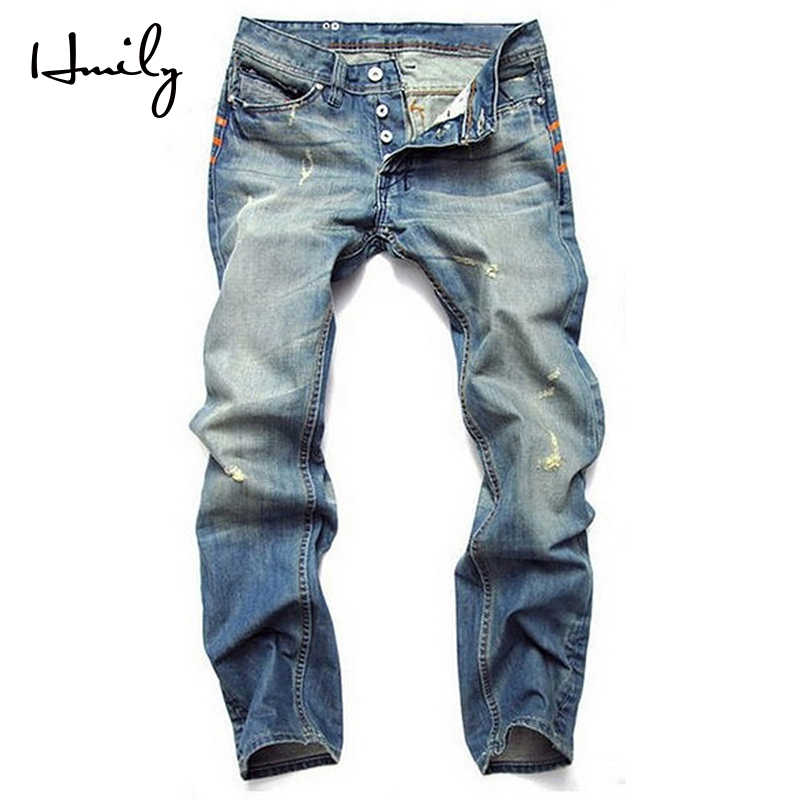 HMILY Men Jeans Washed Blue Denim Pants Ripped Rider Biker Jeans Retro Motorcycle Hip Hop Slim Fit Plus Size 28-42 Business