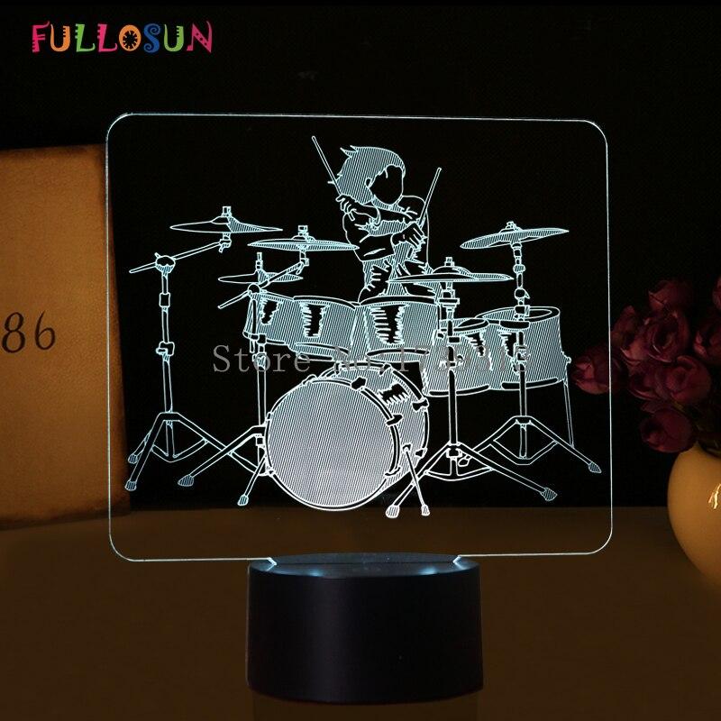 Neuheit Trommel 3D Tischlampe FHRTE Touch Lampe 7 Farben Nachtlichter Als FeiertagsgeschenkeChina