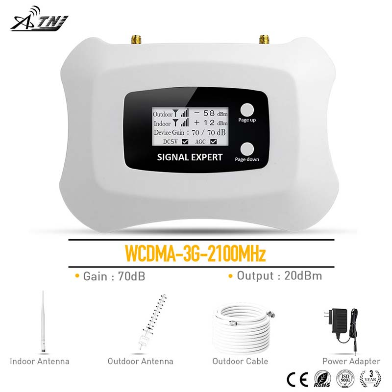 2019 WCDMA 3G 2100MHz Mobile Signal Booster 3G cellular signal amplifier Repeater with Yagi antenna kit