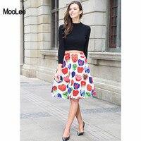 MOOLEE 2017 Autumn Casual Street Wear Women Fruit Pattern Printed Skirts Female Empire Waist A Line