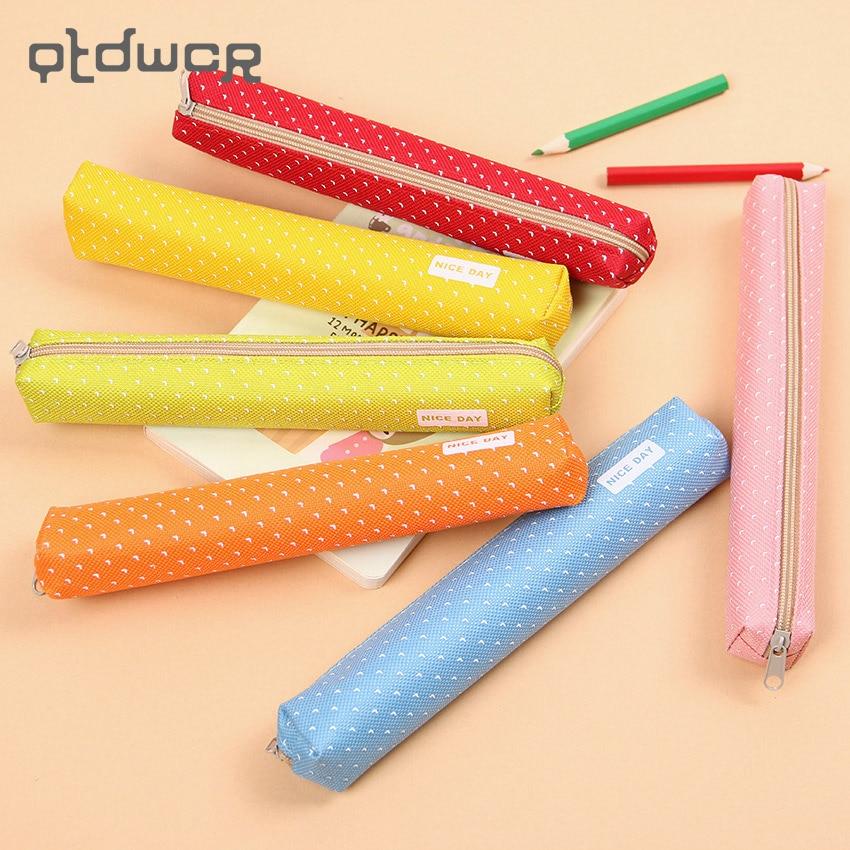 Kawaii Small Fresh Canvas Zipper Pencil Cases Kawaii Dot Fashion For Women School Supplie Stationery Bag