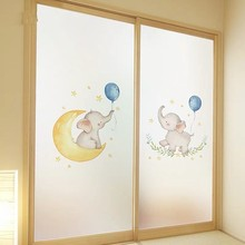 Custom Size Stained Glass Films Elephant Window Sticker Static Cling Frosted non-Adhesive bathroom Home Decorative privacy Film