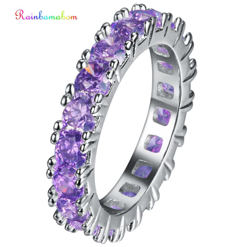 Rainbamabom Luxury Real 925 Solid Sterling Silver Amethyst Gemstone Wedding Engagement Ring Women Fine Jewelry Gifts Wholesale