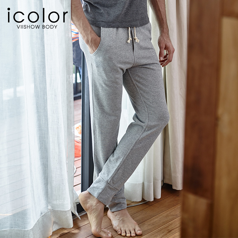 IColor Trousers Pajamas Men Pants Cotton Modal Solid Thin Casual Pants Loose Men's Sleep Lounge Sleep Bottoms I-JC008