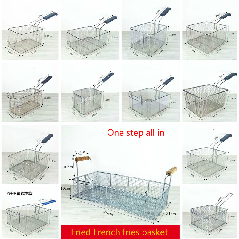 28 options Stainless steel fryer screen French fries frame square filter net encrypt colander shaped Frying basket fryers meshed