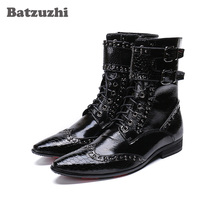 Batzuzhi Fashion Leather Boots Men Pointed Toe Military botas hombre Men Korean Black Dress Ankle Boots Male Buckles, Big US6-12 origial design men pointed toe winter botas striped spike decor military boots size 37 46 creeper zapatos hombre martin boots