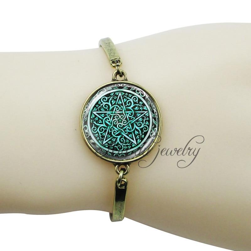 Green Pentagram Charm Bracelets Bronze Plated Pentacle