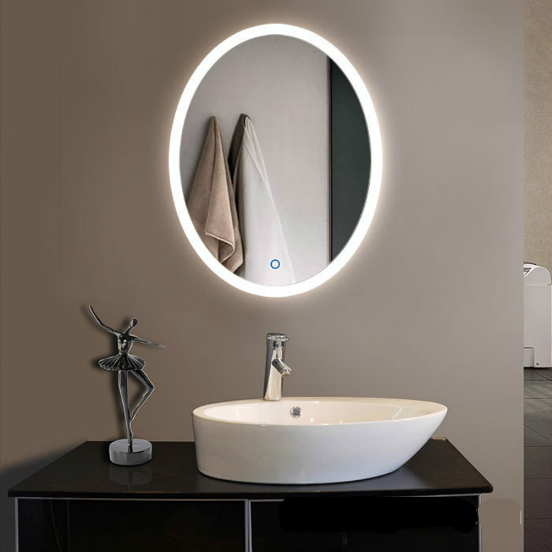 High End Creative Modern Simple Round Oval Led Light Mirror With Touch Switch Waterproof Anti