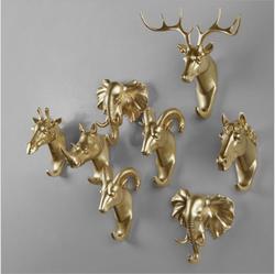 Creative Animal Wall Hook Hanger Hook Rhinoceros Deer Horse Goat Decorative Creative Resin Bathroom housekeeper on therack