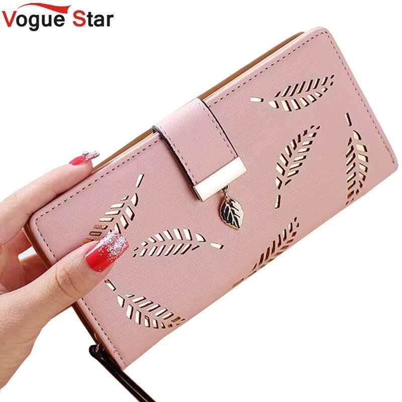 bd1dbbef7dc4 Для женщин кошелек Роскошные Дизайнерские Высокое качество известного  бренда женский длинный кошелек Золото Hollow листья чехол