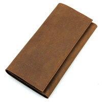 Cell Phone Pocket Passcard Pocket Card Holder Big Capacity Vintage Genuine Leather Long Wallet Purse Men