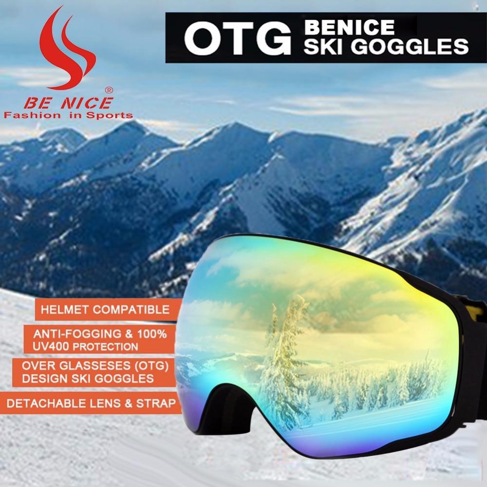 BENICE Occhiali Da Sci Snowboard Senza Telaio UV400 Protection Anti-fog Sci Staccabile Lente A Specchio per Adulti Snowboarding-SN4200