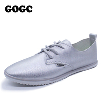 GOGC Brand New Flat Shoes Women Breathable Soft Leather Lace Up Footwear Designer Shoes Women Summer Women's Vulcanize Shoes