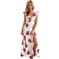 Women Summer Maxi Dress Vintage Boho Floral Print V Neck Long Dresses Elegant Ladies Formal Party