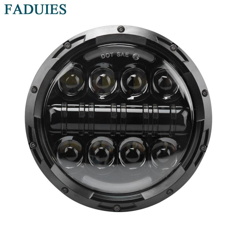 """FADUIES 7 """"80W Motorcykel LED-strålkastare Vinkelögon med Amber Signal Halo DRL Halo För Harley-Davidson Motorcyklar Daymaker"""