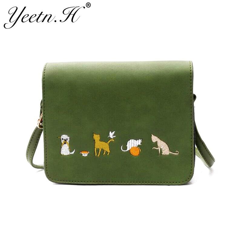 Yeetn. H новое поступление модные Вышивка милого кота из искусственной кожи Crossbody сумка для Для женщин Курьерские сумки Бесплатная доставка m7481