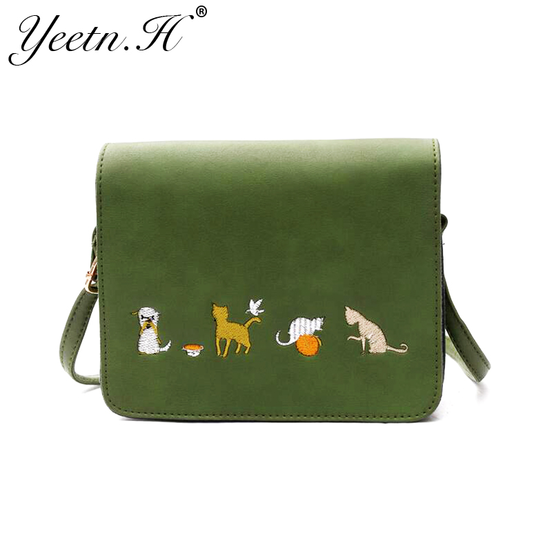 Yeetn.H New Arrival Fashion Embroidery Cat Cute PU Leather Woman Crossbody Bag For Women Messenger Bags Free Shipping M7481 new arrival messenger bags fashion rabbit fair for women casual handbag bag solid crossbody woman bags free shipping m9070