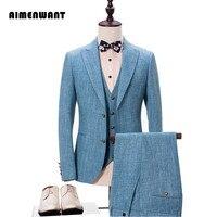 AI Для мужчин хотите Для мужчин куртка + жилет + Брюки для девочек комплект костюм Европа Бизнес повседневные льняные Костюмы мужской Пром св