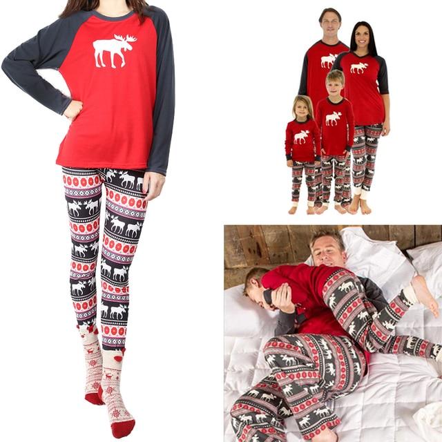 christmas mom family reindeer set pyjamas dads pjs print hot kids long sleeve