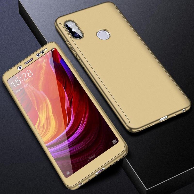 360 полный защитный чехол для телефона для Redmi Note7 note8 8A 7A для Xiaomi A3 Lite A2lite противоударный полный чехол s со стеклянной пленкой - Цвет: Gold