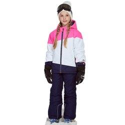 Одежда для девочек, лыжный костюм, ветрозащитная куртка + штаны, зимний теплый лыжный костюм, комплект верхней одежды для детей, зимние компл...