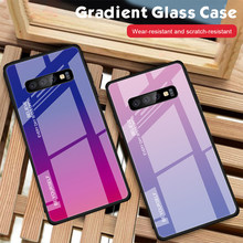 Tempered Glass Case For Samsung Galaxy S8 S9 S10 Plus Luxury Back Cover Gradient Color Case For Samsung A10 A50 A70 A6 A7 A8 A9(China)