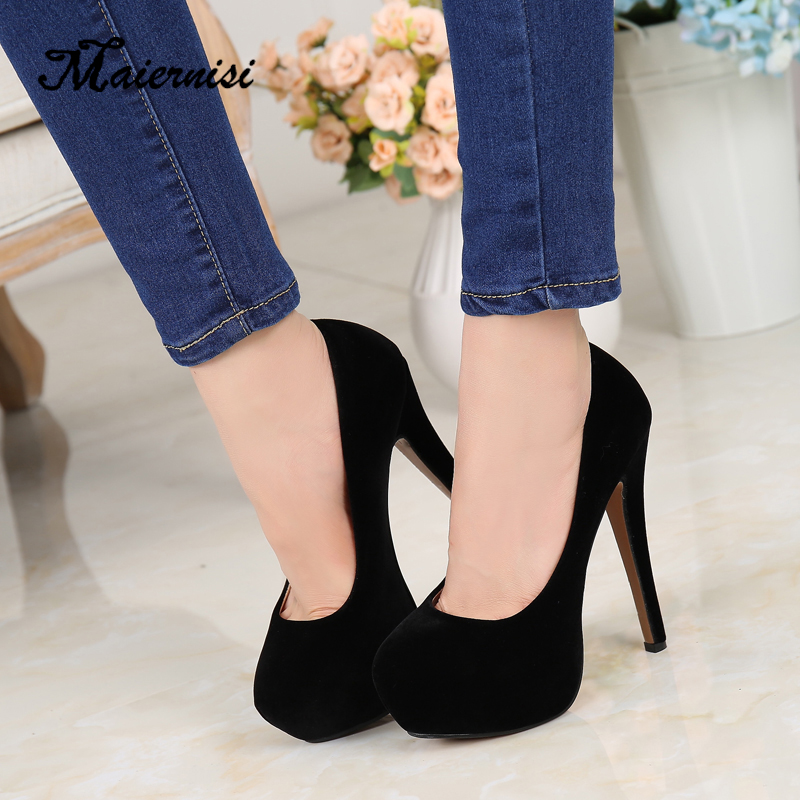 MAIERNISI super high heels shoes flock platform Heeled shoes pumps women night club thin heel sexy plus big size 14cm high heels-in Women's Pumps from Shoes