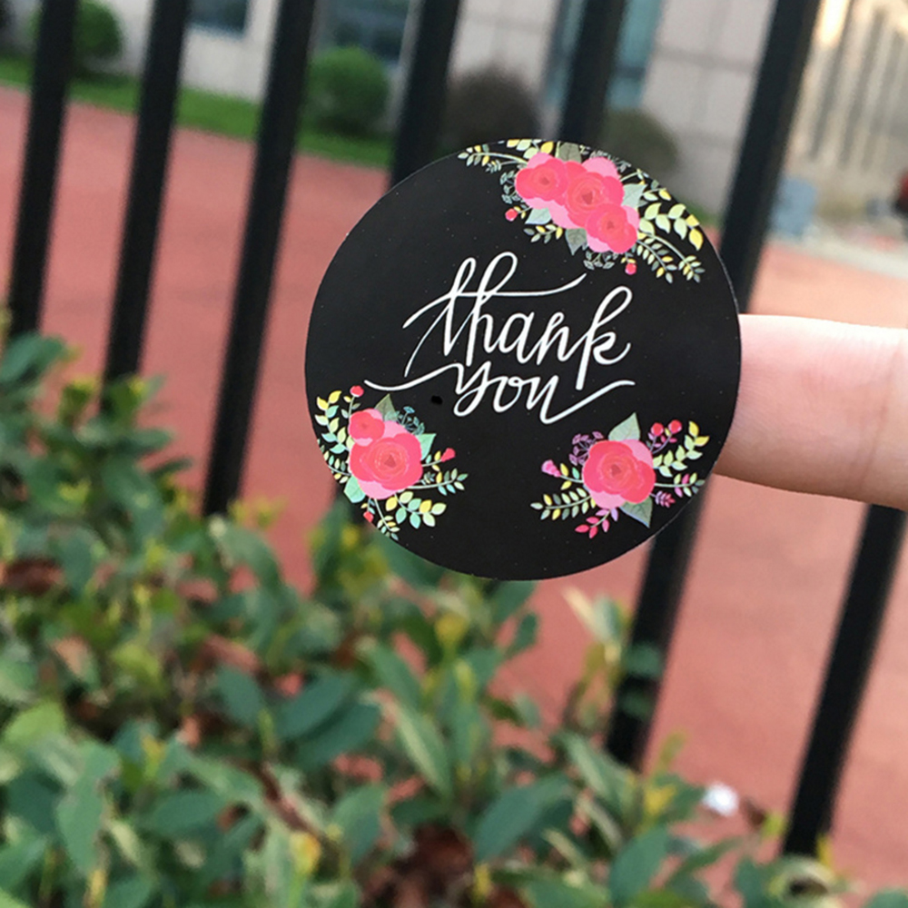 120pcs/lot Cute Flower Thank You Series Round Seal Sticker Mutifunction DIY Decorative Gifts Package Labels For Baking