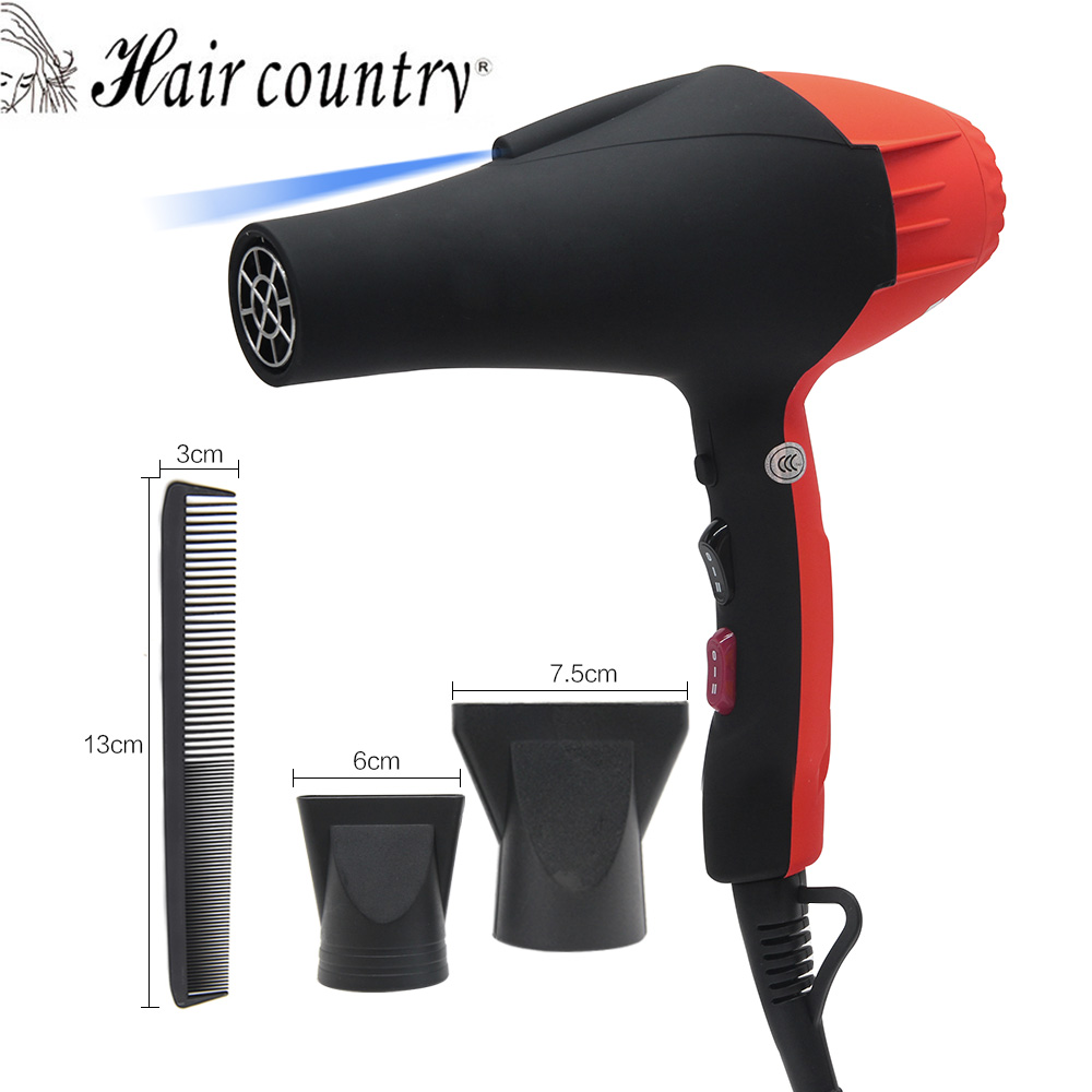 Hair Country Hair Dryer Professional Blow Hot And Cold Wind Black HairDryer 2100W With 2 Nozzles Styling Tools Salons + comb professional hair dryer 2200w 220v ion hair care styling tools secador de cabelo fashion hot cold nano titanium hairdryer
