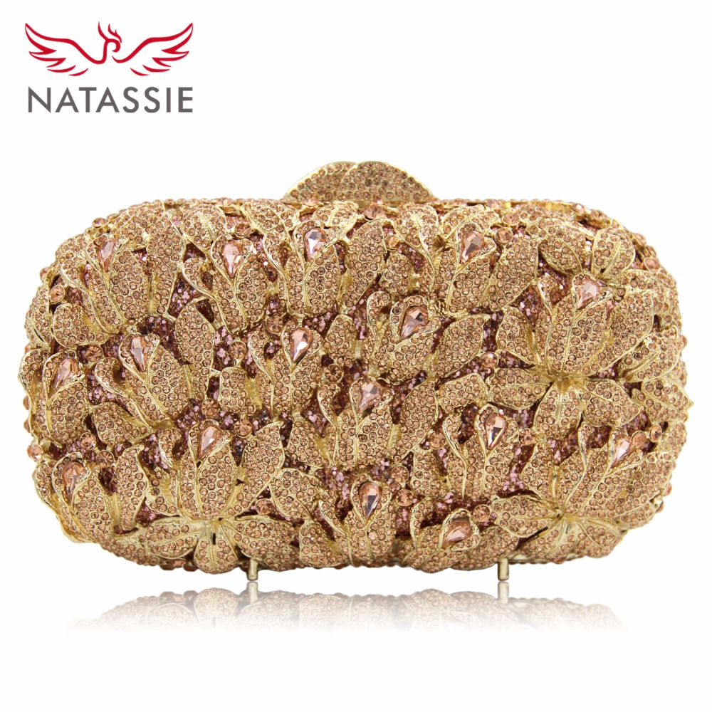 NATASSIE 2016 New Women Luxury Clutch Handbag Evening Bag Ladies Crystal Wedding Purses Dinner Party Bag women luxury rhinestone clutch evening handbag ladies crystal wedding purses dinner party bag bird flower purse zh a0296