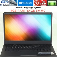 4G RAM & 64GB EMMC Laptop Computer pc 14inch 1366x768P Intel Atom X5-Z8350 1.46Ghz Quad Core Free 15 national Keyboard Stickers