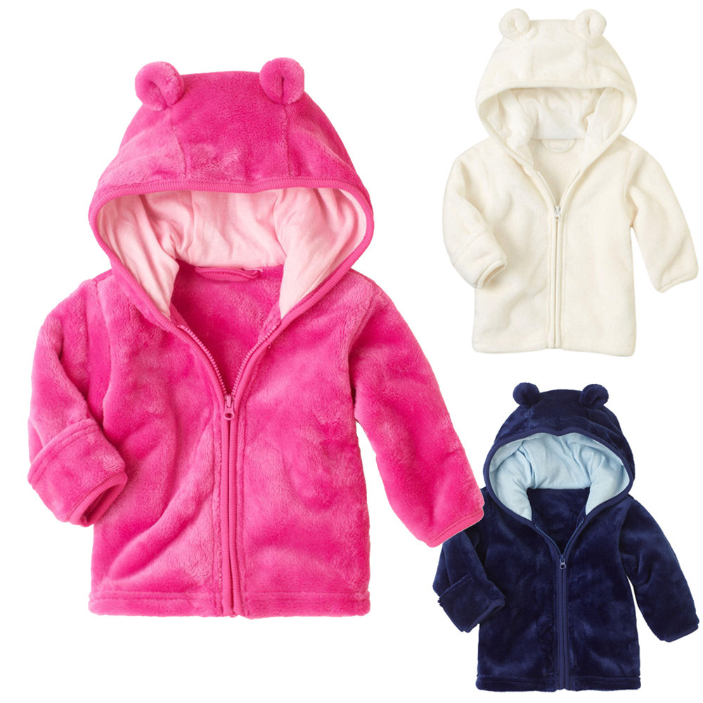 ARLONEET Toddler Warm Outwear Soft And Comfortable Coral Fleece Kids Baby Boys Girls Clothes Zipper Tops Coat Jackets G0509