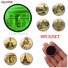 Luminous Glass Souvenir Fridge Magnets France Paris Eiffel Tower Triumphal Arch 8 PCS Set 25 MM Refrigerator Magnetic Decoration
