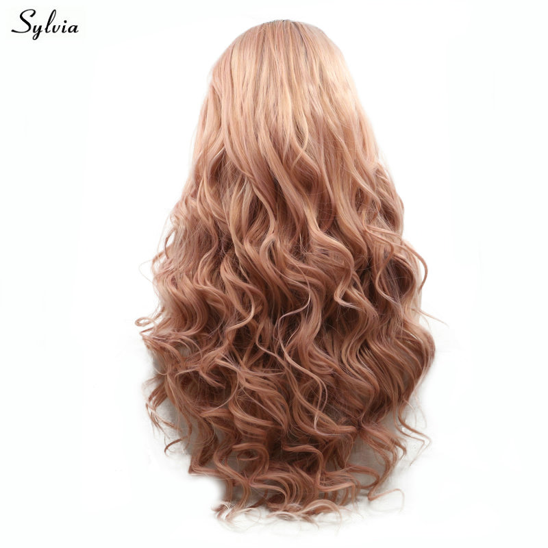 Sylvia Natural Wave Rökrosa Wig High Temperature Fiber Lång Hår - Syntetiskt hår