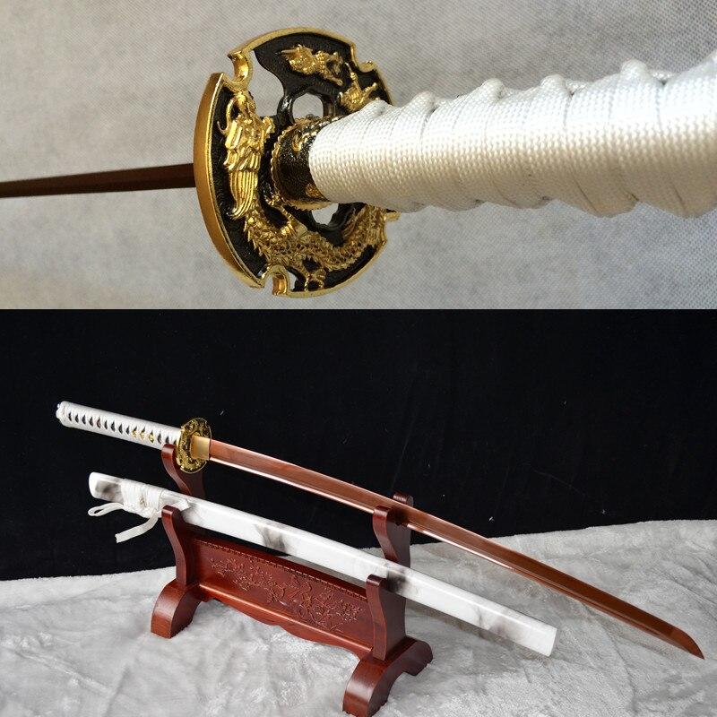 Japonský samuraj katana drak tsuba katana meč bílý pochva ostří
