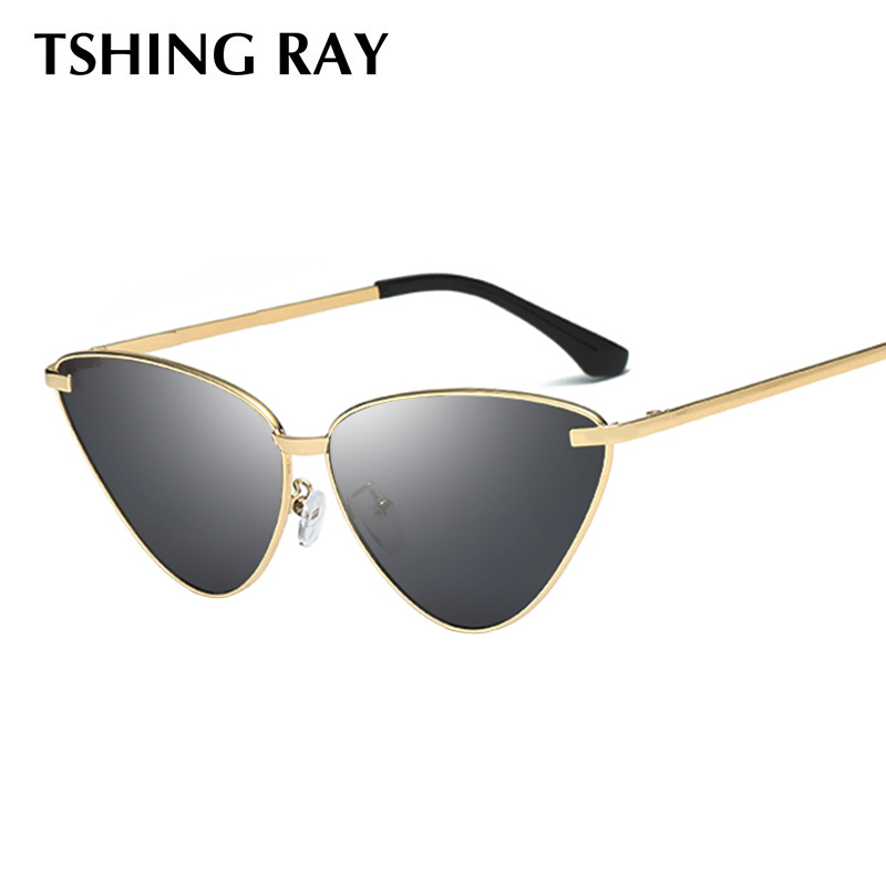 904d3238dcc TSHING RAY Ladies Fashion Mirror Cat Eye Sunglasses Women 2019 New Vintage  Wrap Metal Frame Clear Lenses Sun Glasses For Female-in Sunglasses from  Apparel ...