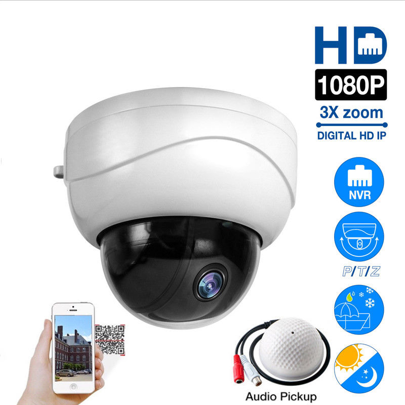 Outdoor HD 1080P 3X Optical Zoom Network IP Camera CCTV Dome PTZ IR Night Audio Compatible with HIKVISION, DAHUA, XM NVR image