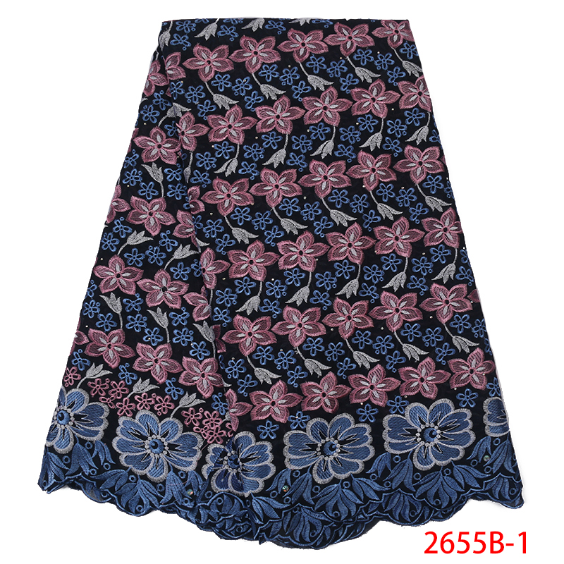 2019 High Quality Swiss Volie Cotton Lace FabricAfrican Lace Fabric Latest Nigeria Lace Fabric Embroidery With Stones KS2655B-1