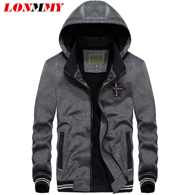 LONMMY 3XL Sweatshirts mens tracksuit Hoodies Streetwear Casual plus velvet knitted jacket male Outerwear 2018 Autumn Winter